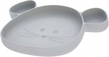 Lässig Silicone plate with suction pad Little Chums Mouse grey