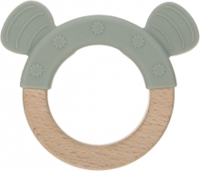 Lässig Wooden ring with silicone Little Chums Cat