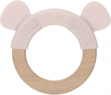 Lässig Wooden ring with silicone Little Chums Mouse