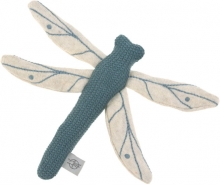 Lässig Knitted toy with rattle Garden Explorer Dragonfly blue