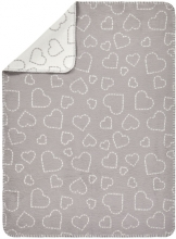Alvi GOTS certified Cotton blanket Hearts grey 75 x 100 cm