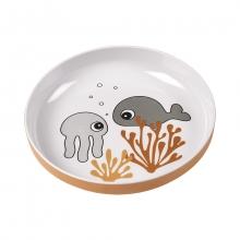 Done by Deer Yummy mini plate Sea Friends mustard/grey