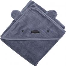 Sebra Terry hooded towel Milo the Bear bramble blue