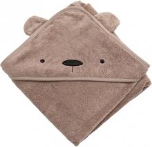 Sebra Terry hooded towel Milo the Bear rustic plum