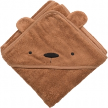 Sebra Terry hooded towel Milo the Bear sweet tea