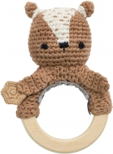 Sebra Crochet rattle Milo the Bear twig brown