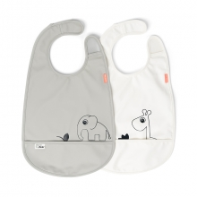 Done by Deer bib with velcro Deer Friends grey 2pcs