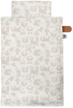 Sebra Bed linen organic cotton Baby 100x70 cm Forest straw beige