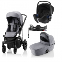 Britax Römer SMILE III Frost Grey/Black handle COMFORT PLUS BUNDLE (incl. Stroller, carrycot, BABY-SAFE i-SIZE Cosmos Black, Flex Base)