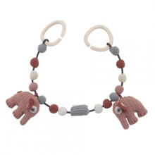 Sebra Crochet pram chain Fanto the elephant blossom pink