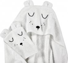 Alvi Terry Cloth Set hooded towel & wash mitt Faces white