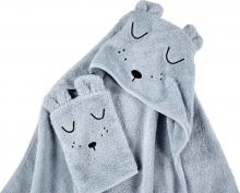 Alvi Terry Cloth Set hooded towel & wash mitt Faces light blue