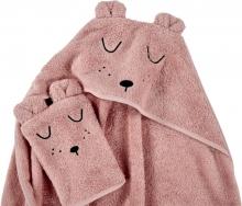 Alvi Terry Cloth Set hooded towel & wash mitt Faces light pink