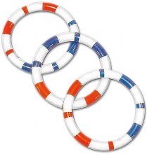 Bieco Ring rattle 11cm blue red striped