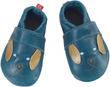 Anna and Paul leather toddler shoe Dog night blue with leather sole S-18/19