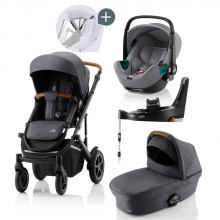 Britax Römer SMILE III Midnight Grey COMFORT PLUS iSENSE STAY COOL BUNDLE (incl. Stroller, carrycot, BABY-SAFE iSENSE Smile Frost Grey, Base)