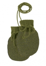 Disana Knitted gloves size 0 olive-anthracite
