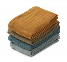 Liewood Leon muslin cloth 4 pack whale blue multi mix