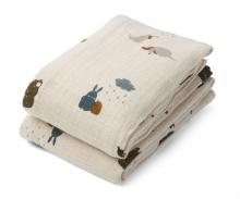 Liewood Lewis muslin cloth 2 pack friendship sandy mix