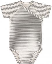 Lässig Short Sleeve Body GOTS 62/68 Striped grey/anthracite