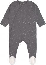 Lässig Pyjamas GOTS with feet 62/68 Spots anthracite