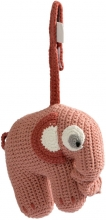 Sebra Crochet musical toy Fanto the elephant blossom pink