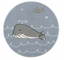 ScandicToys Rug Whale blue/silver grey round 133cm
