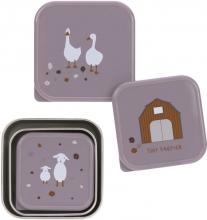 Lässig Snackbox Stainless Steel Tiny Farmer lilac 3 pack