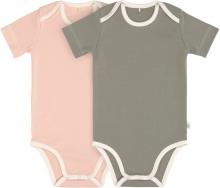 Lässig Short Sleeve Body GOTS 2pcs. 74/80 powder pink/olive american neckline