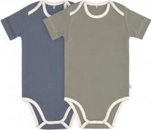Lässig Short Sleeve Body GOTS 2pcs. 86/92 blue/olive american neckline