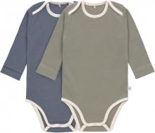Lässig Long Sleeve Body GOTS 2pcs. 74/80 blue/olive american neckline