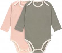 Lässig Long Sleeve Body GOTS 2pcs. 86/92 powder pink/olive american neckline