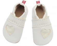 Anna and Paul Glitter heart Leather toddler shoe M-20/21 white
