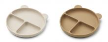 Liewood Merrick Divider Plate 2-Pack Sandy/oat mix