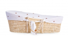 Childhome Moses Basket soft cornhusk natural incl. mattress and cover jersey hearts