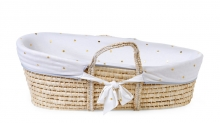 Childhome Moses Basket soft cornhusk natural incl. mattress and cover jersey gold dots