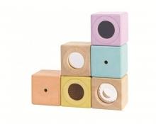 PlanToys Wooden Baby Toy Sensory Blocks pastel